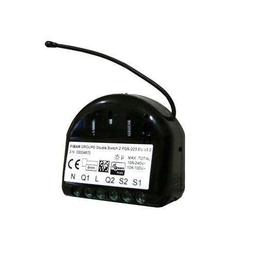 Fibaro. Реле двухканальное встраиваемое Fibaro Double Switch 2 FGS-223 / FIBEFGS-223